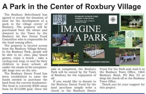 Northfield News article on the development of the Roxbury Park in Roxbury, VT.